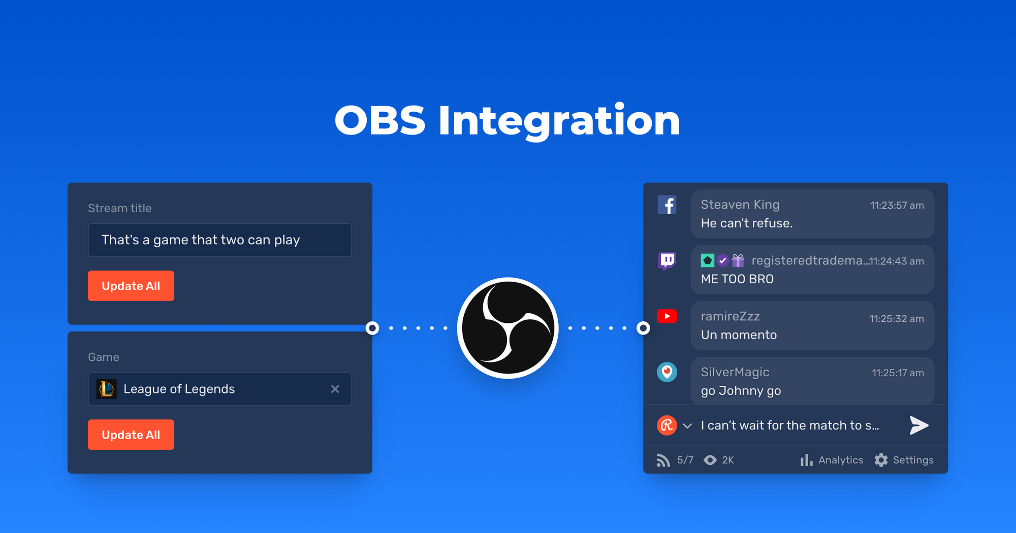 OBS Studio officially supports Restream's new set of widgets