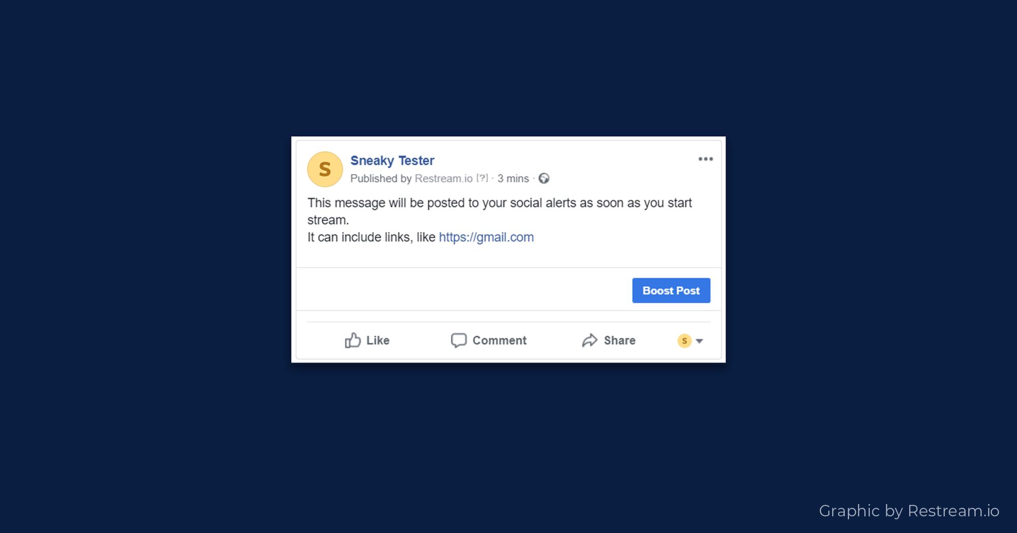 Example of how Restream Social Alerts feature works