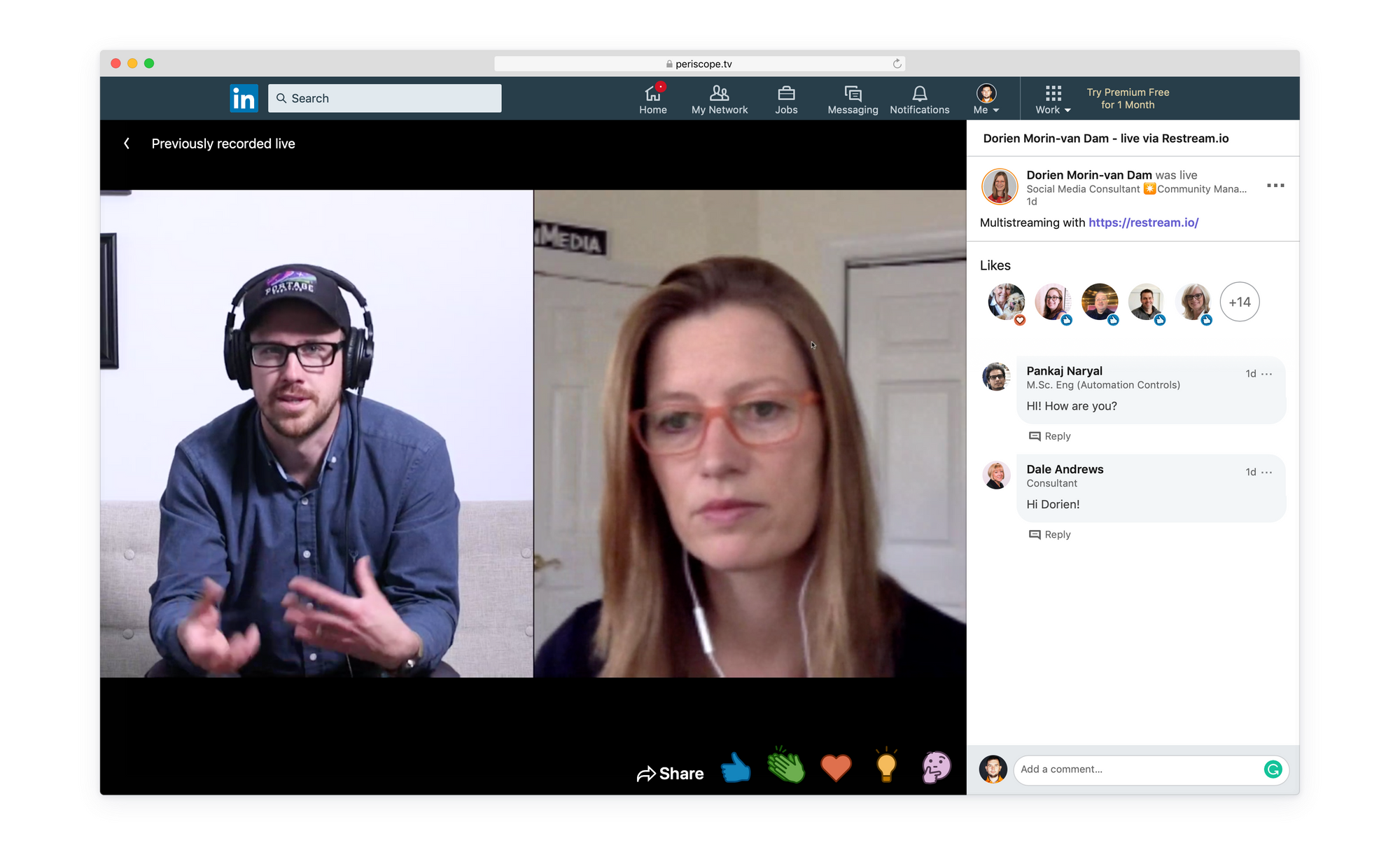 LinkedIn Live screenshot