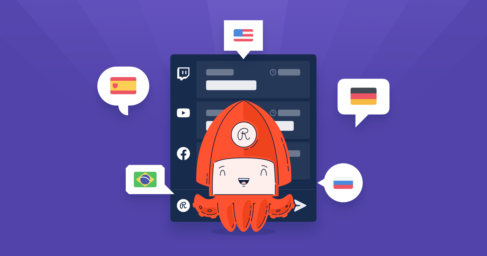 Restream Chat now supports five languages: English, Russian, Portuguese, Spanish, and German
