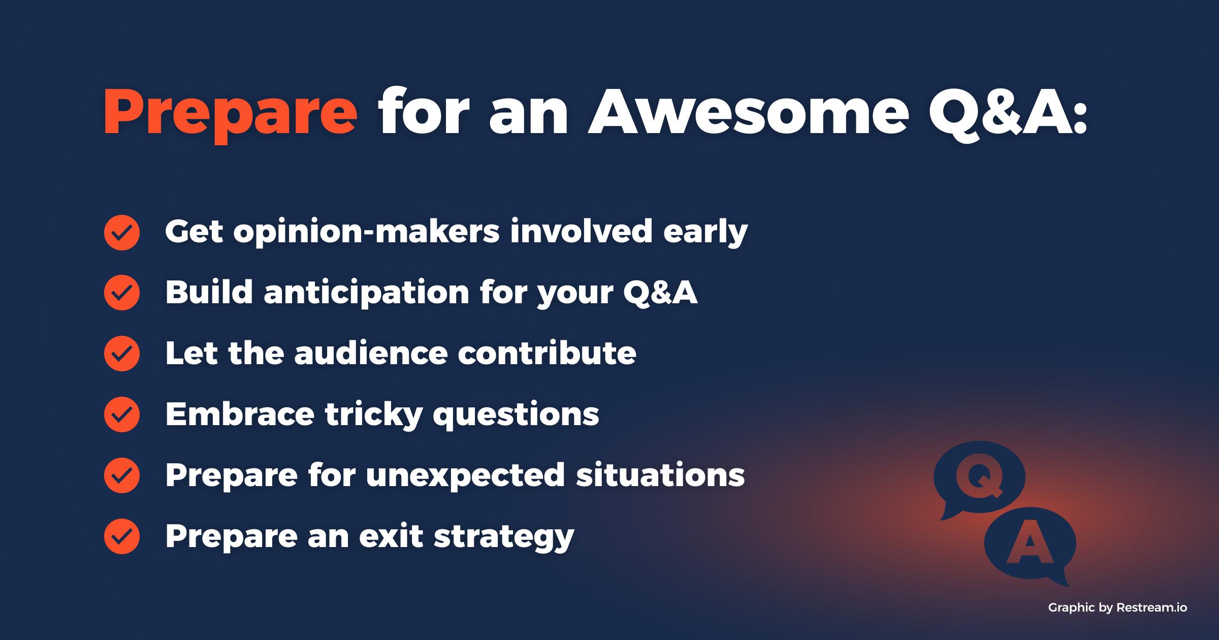 Prepare for a Q&A checklist
