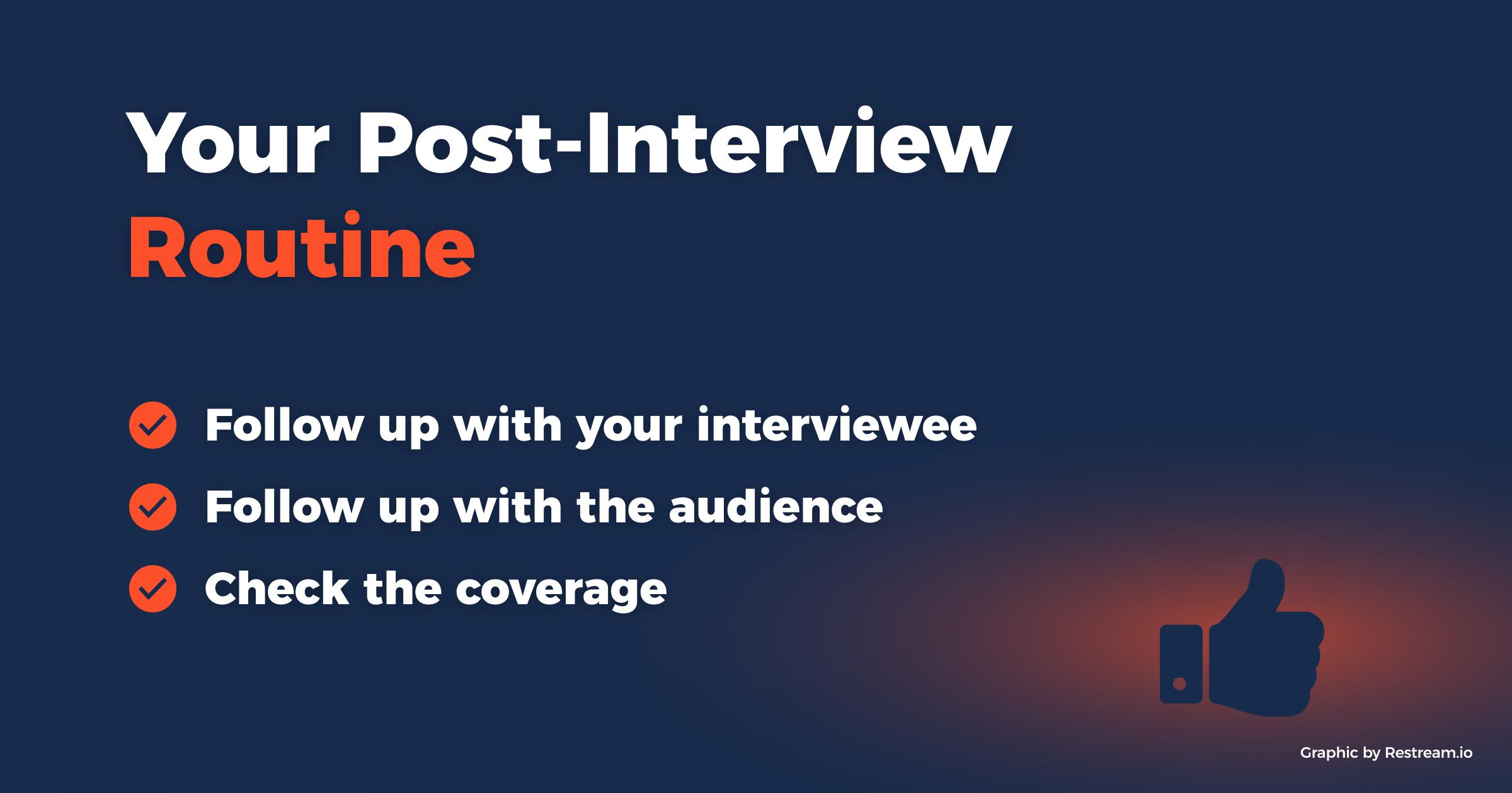 Your Post-Interview Routine checklist