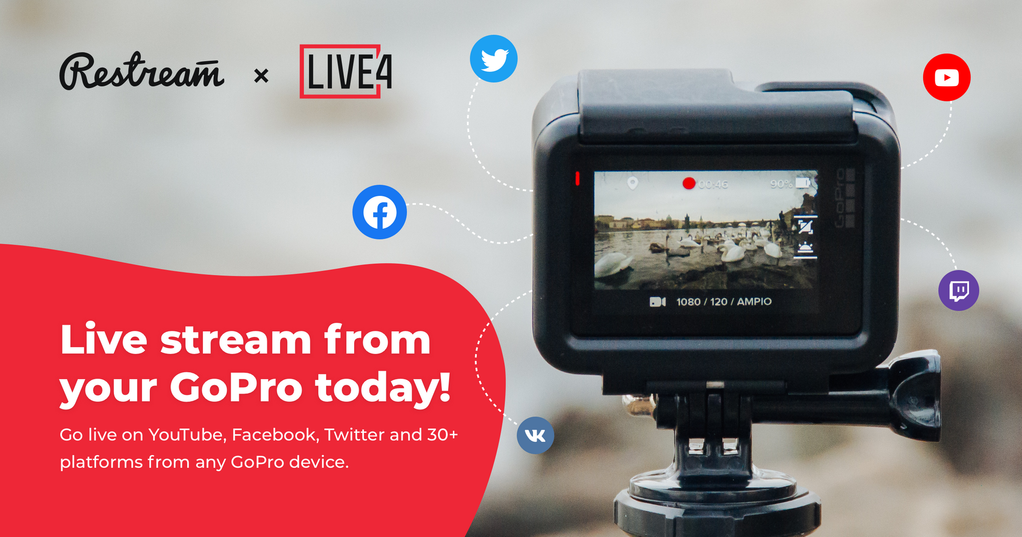 Live stream from your GoPro with Restream and LIVE4