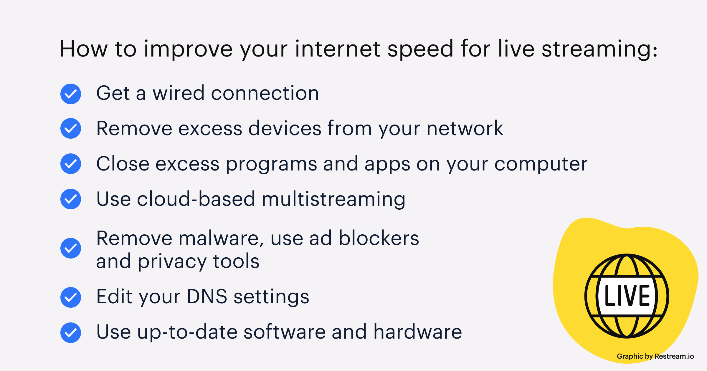 Checklist on how to improve your internet speed for streaming