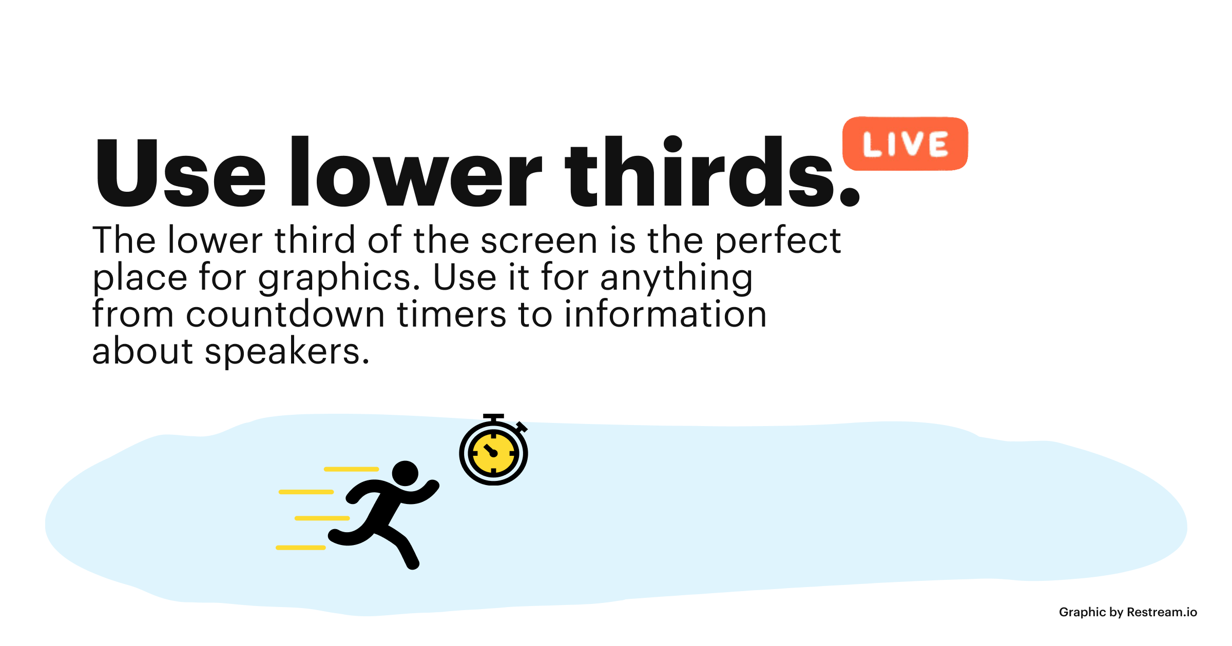 How to live stream an event tip: Use lower thirds. The lower third of the screen is the perfect place for graphics.