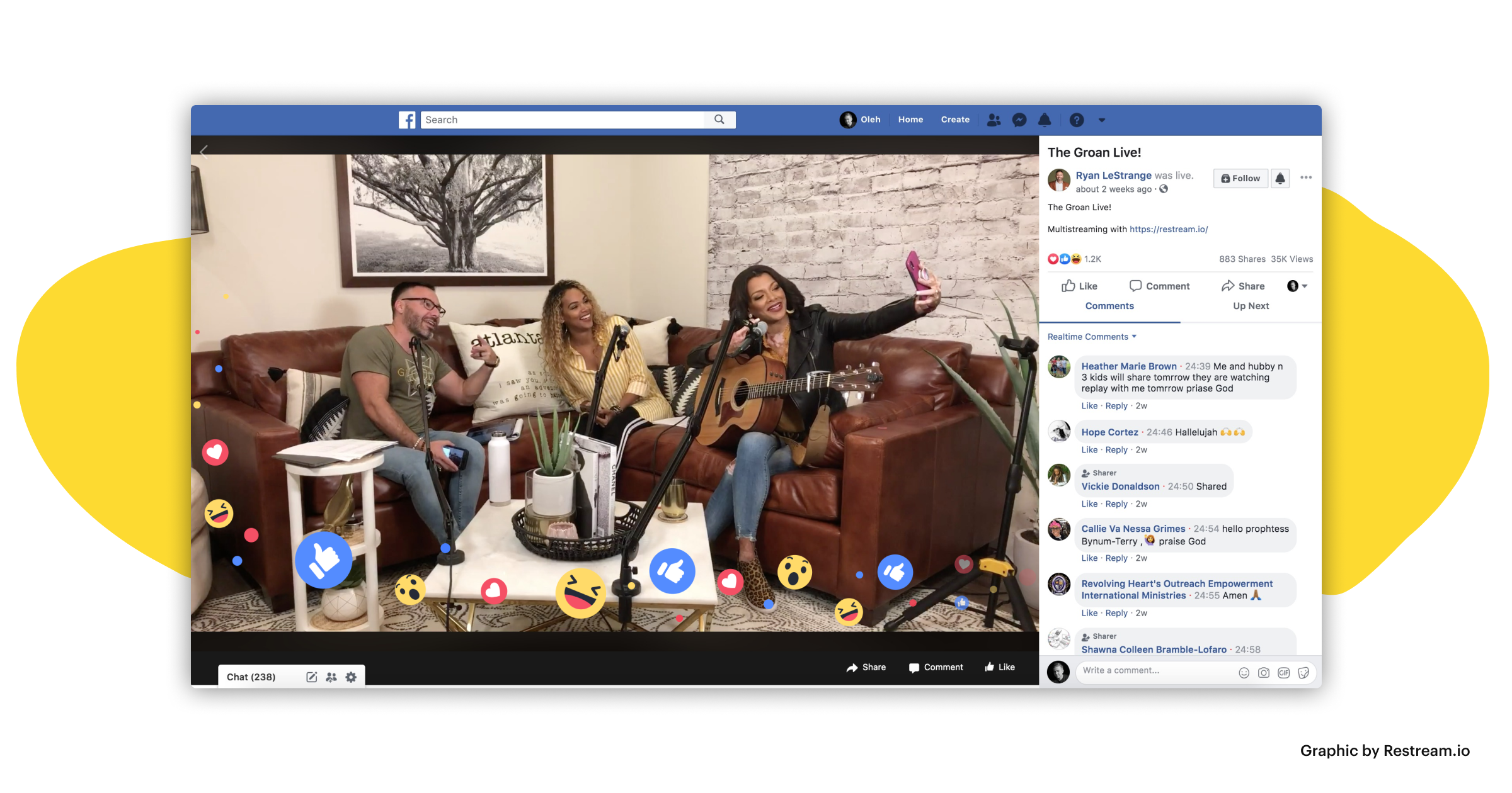 Facebook Live screenshot with lots of viewers and emojis popping from the frame
