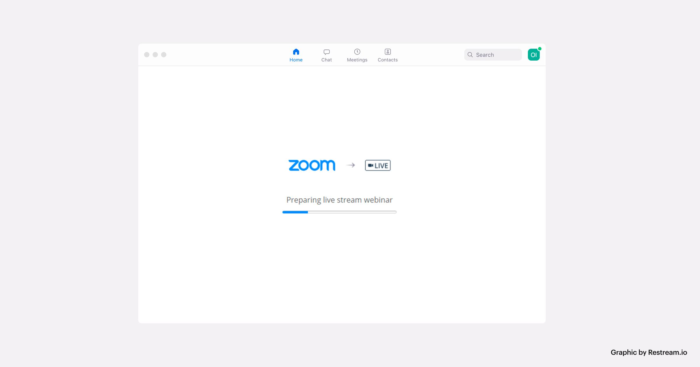 "Zoom screenshot ""Preparing live stream webinar"""