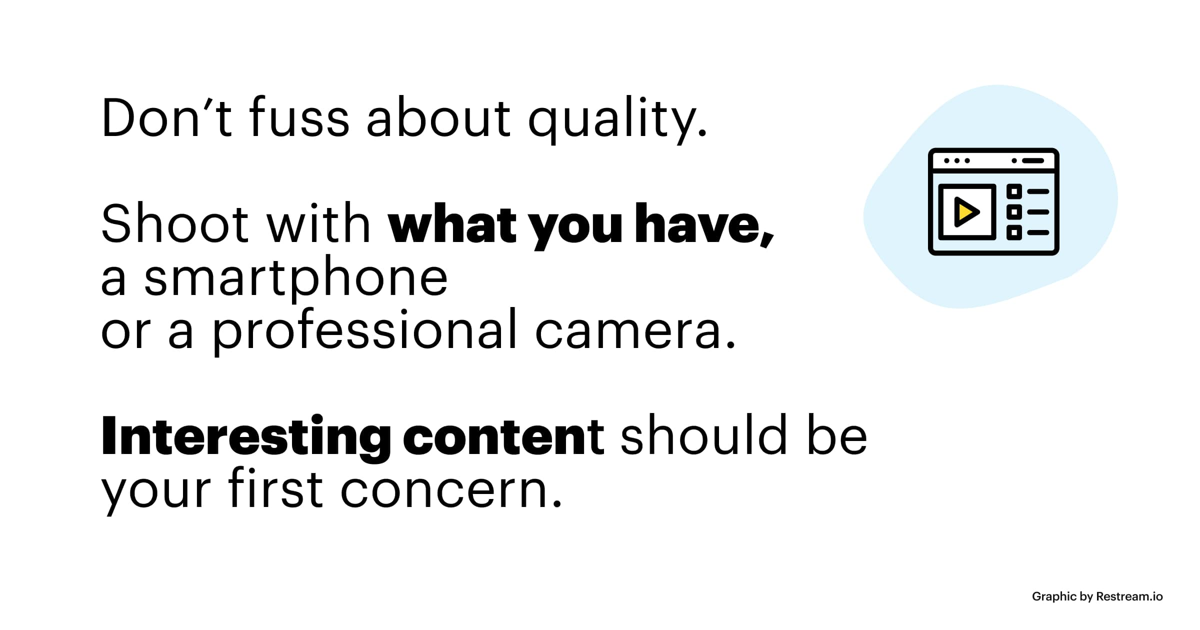 Don't fuss about quality - interesting content should be your first concern.