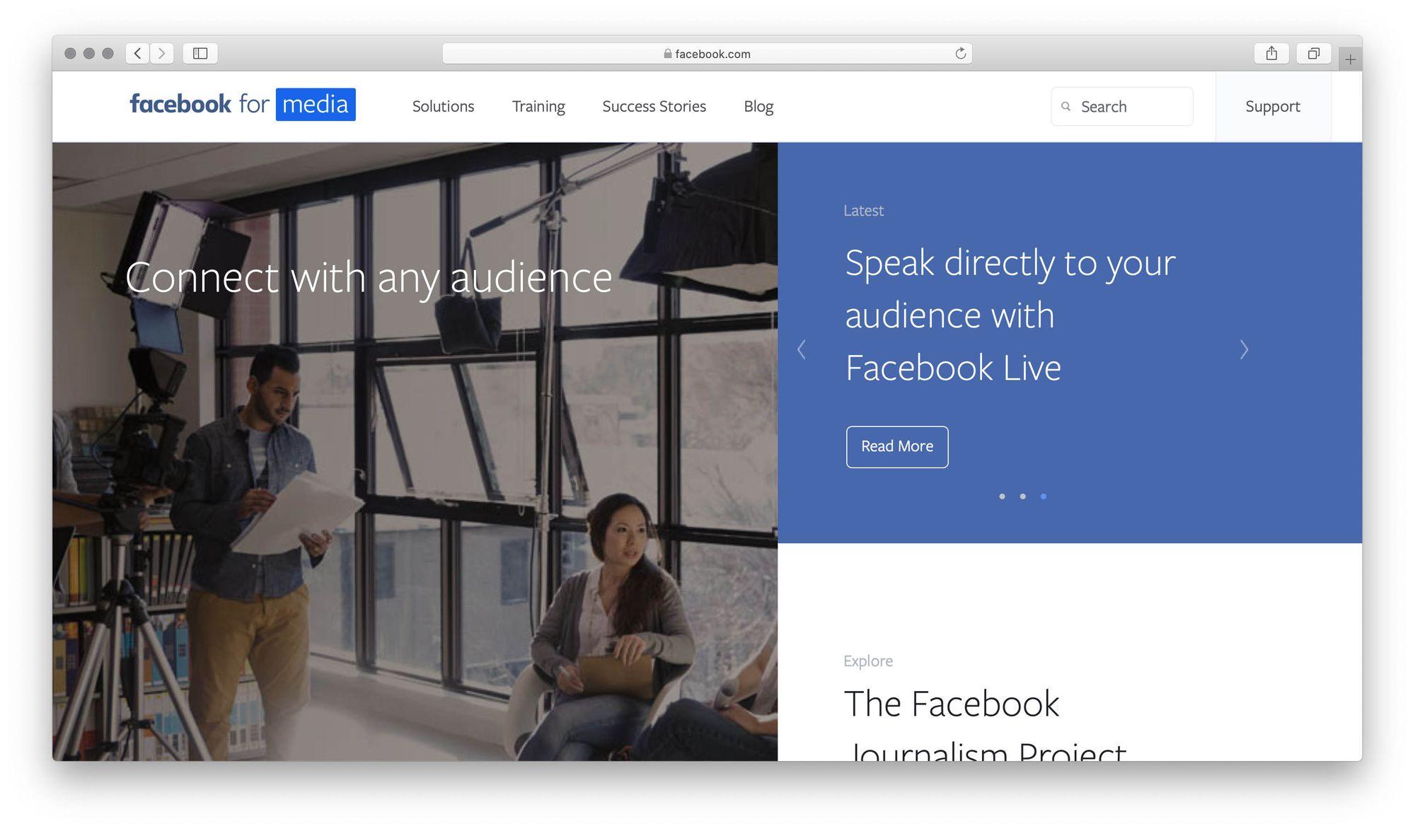 Facebook for media screenshot