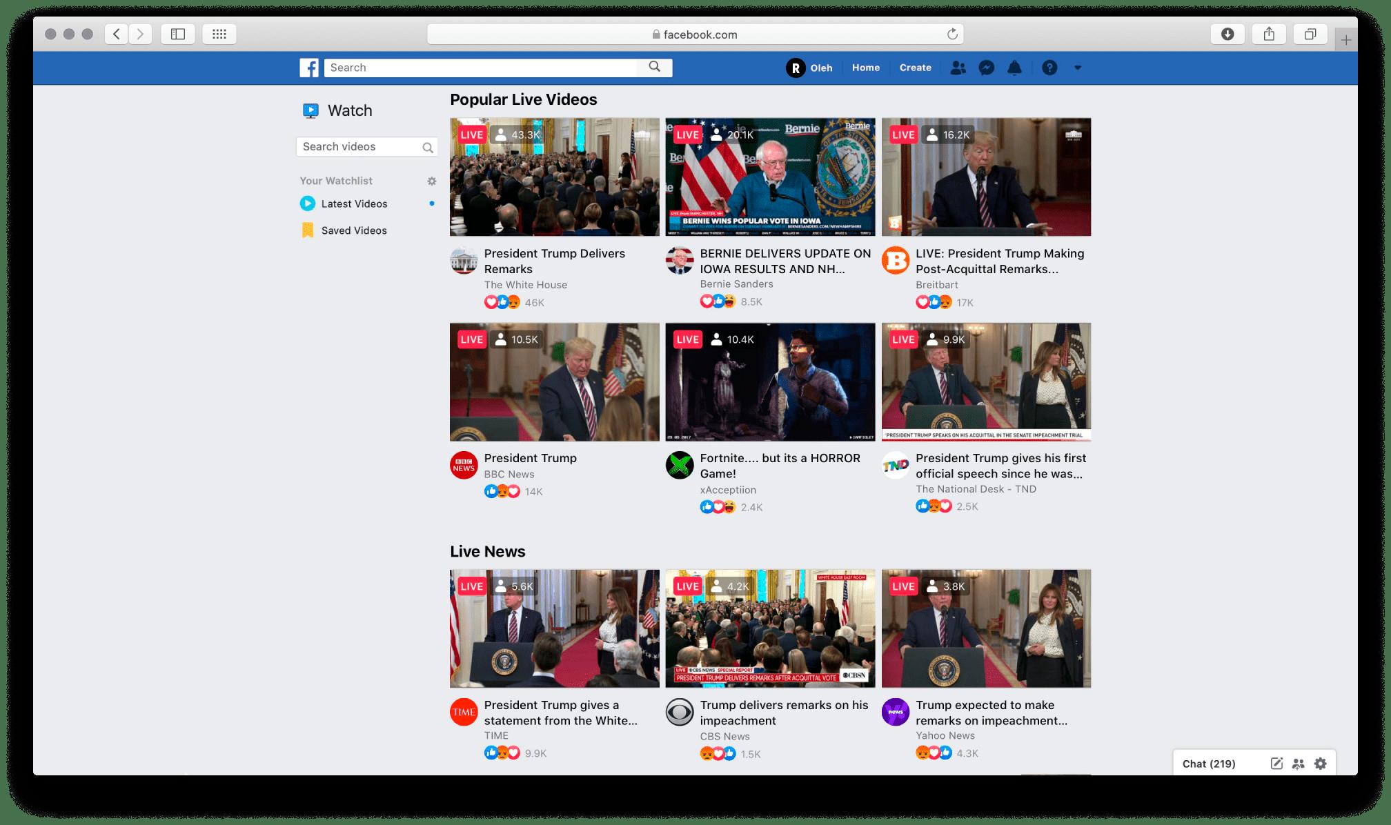 Facebook Live screenshot