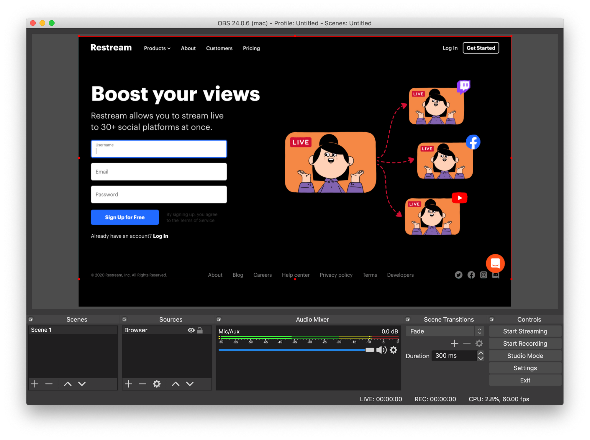Screenshot of OBS Studio. Main panel: Sources