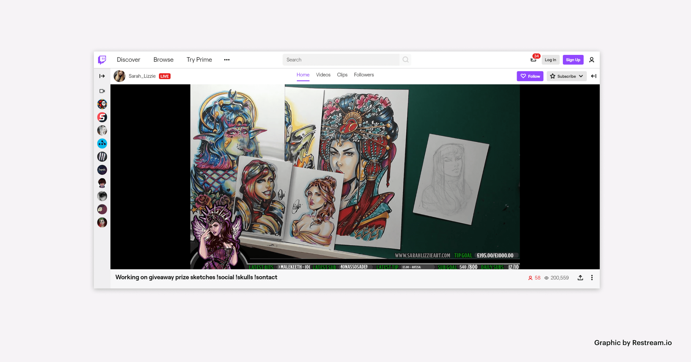 Twitch for streaming art