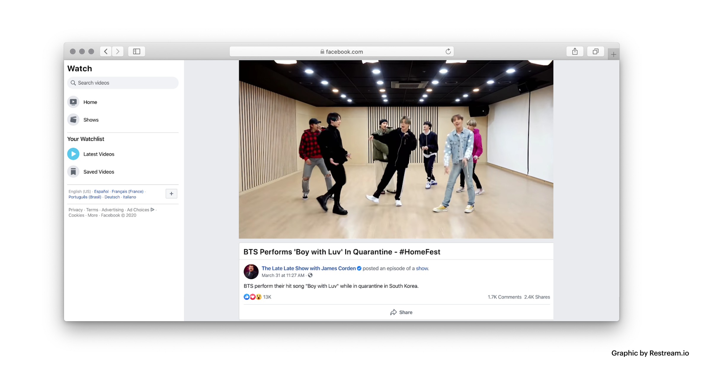 BTS live music performance on Facebook