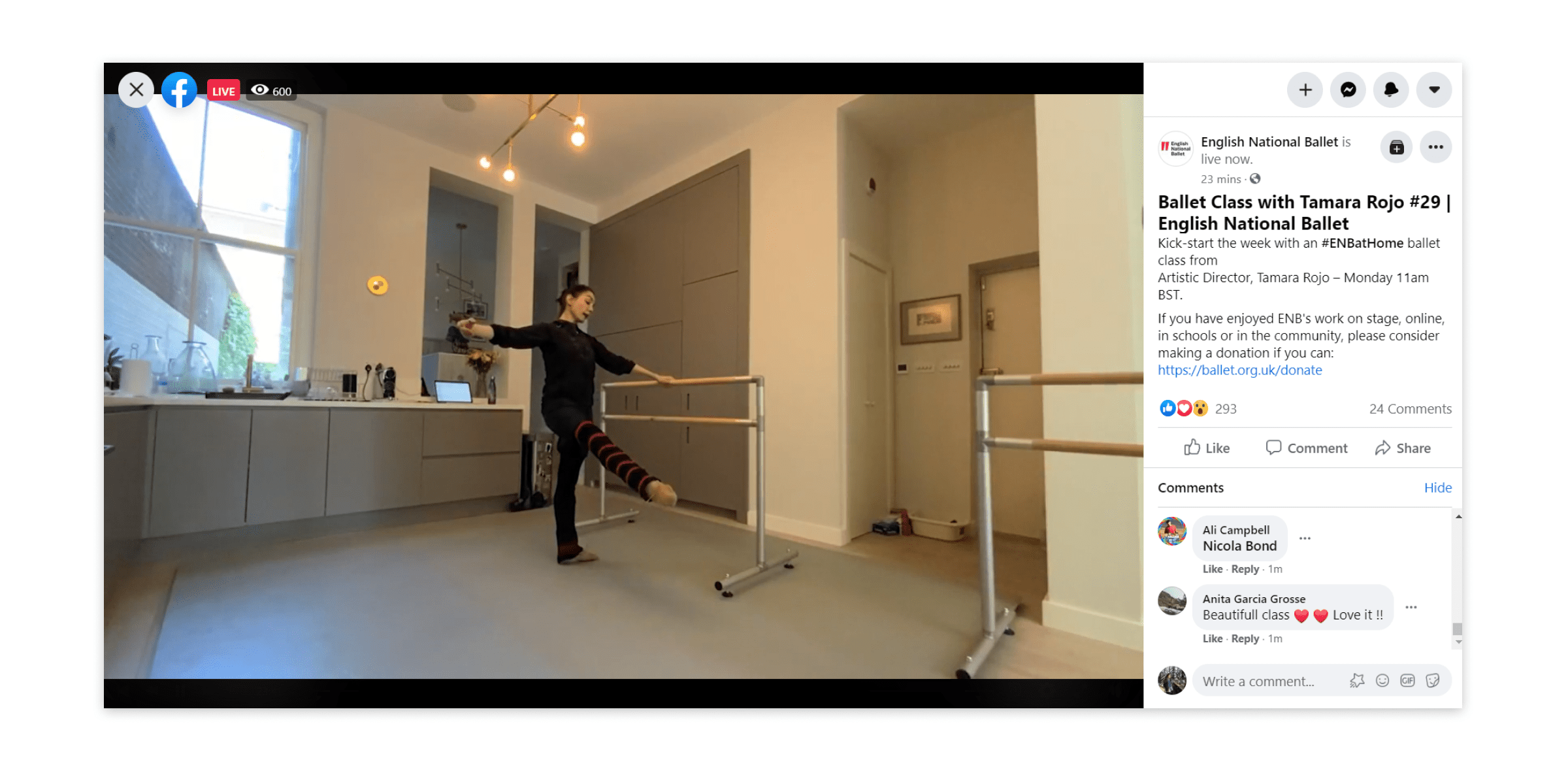 Live streaming dance classes on Facebook Live