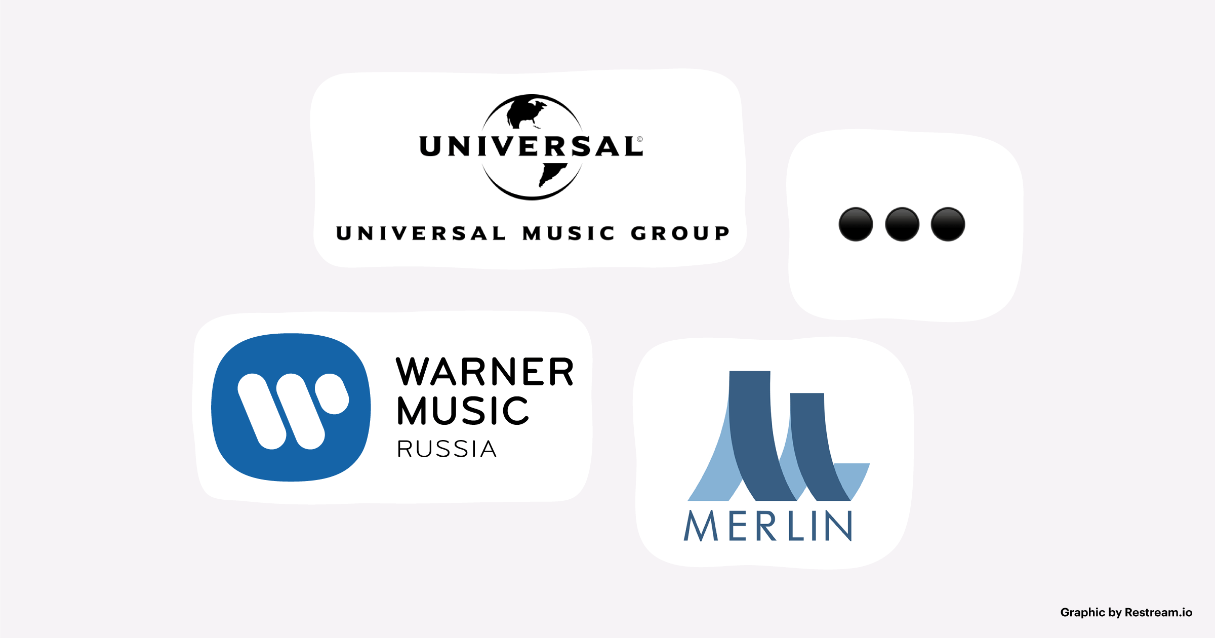 Warner Music Group, Universal Music Group, Merlin Network, etc.
