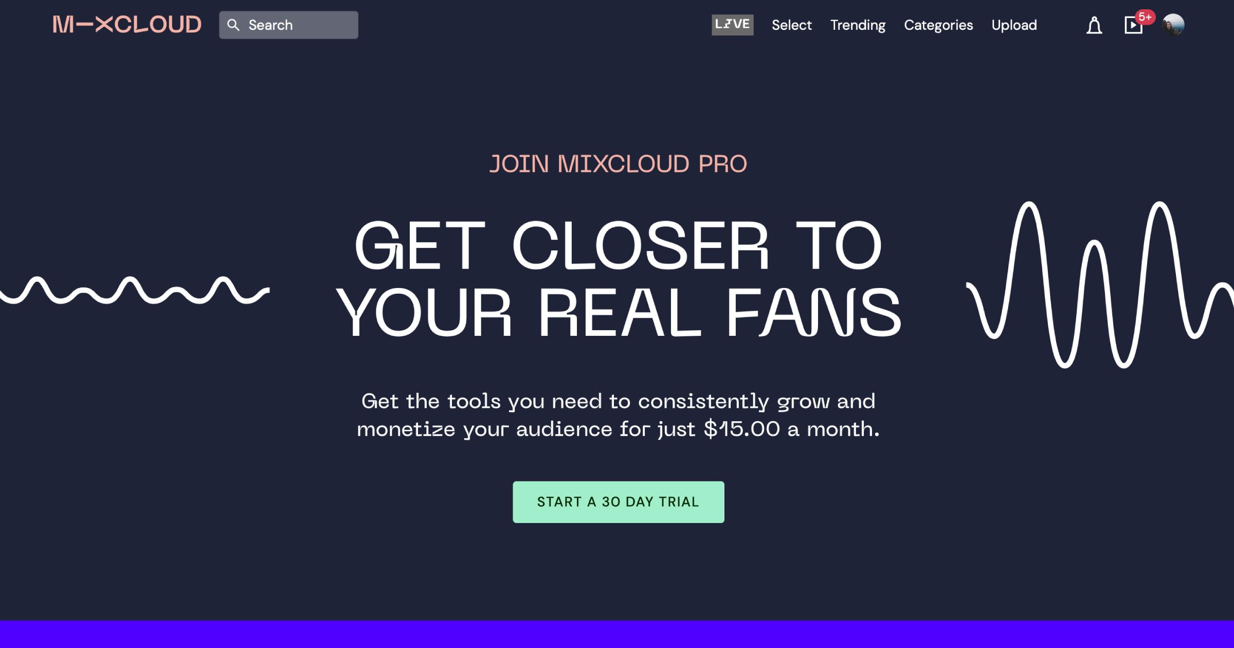 mixcloud.com homepage