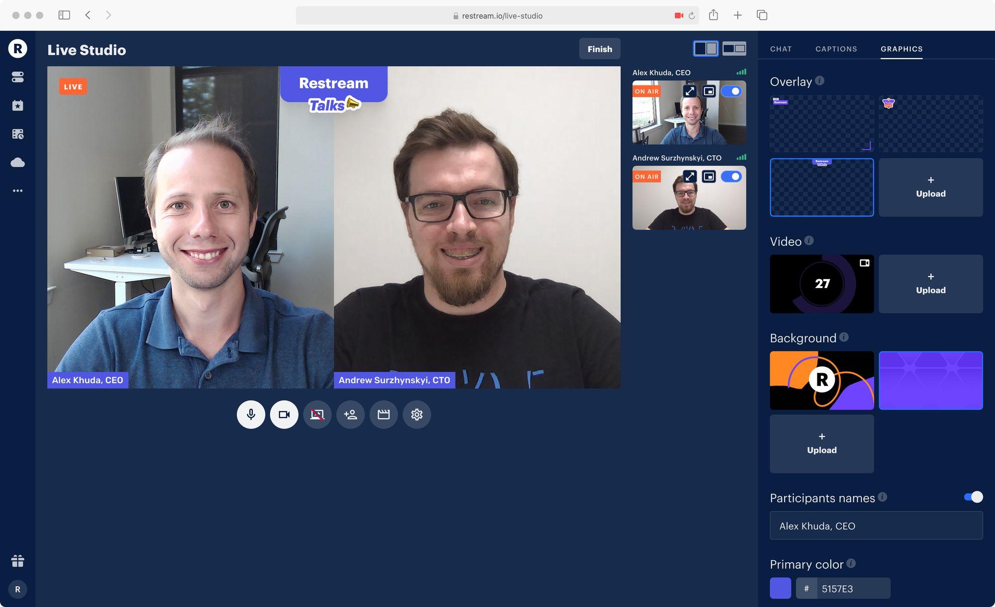 Restream Talks with Alex Khuda and Andrew Surzhynskyi using Restream Studio