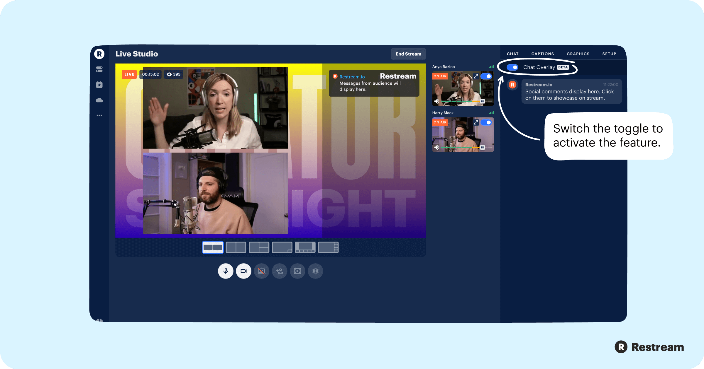 How to activate Chat Overlay in Restream Studio