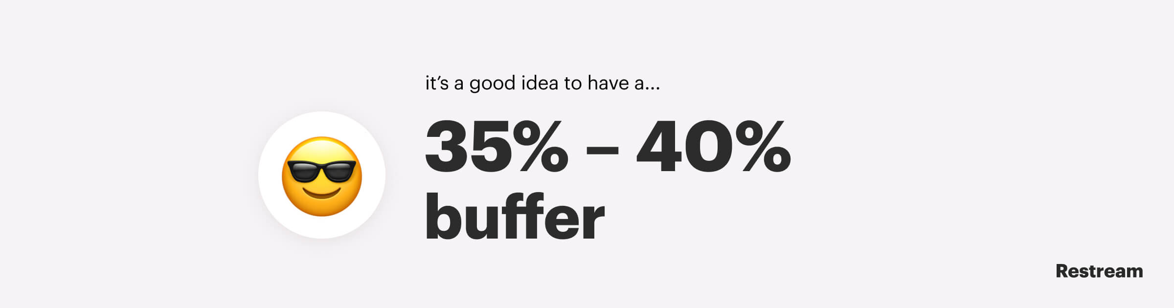 It's generally a good idea to have a 35% to 40% buffer
