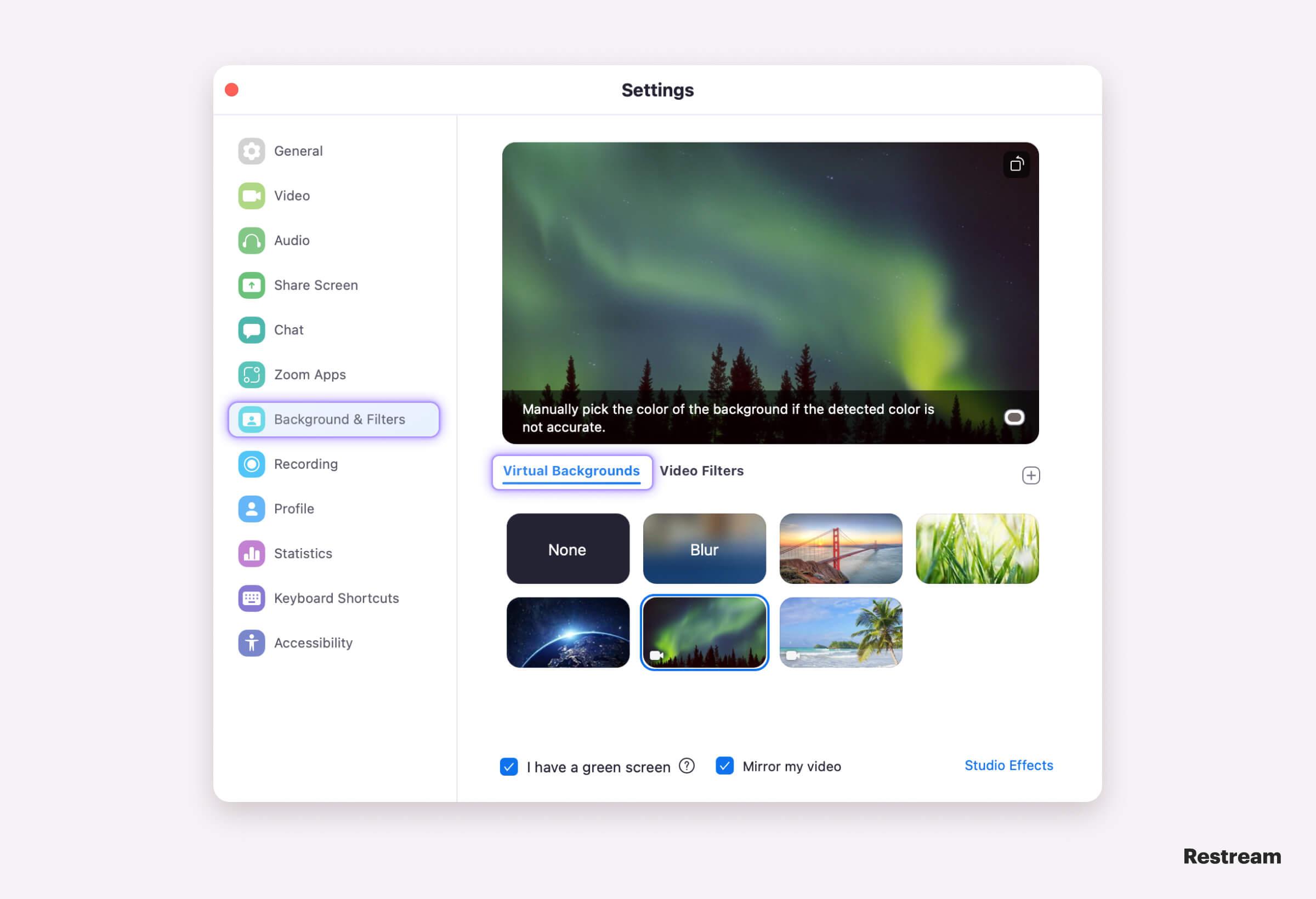 Zoom Settings – change background