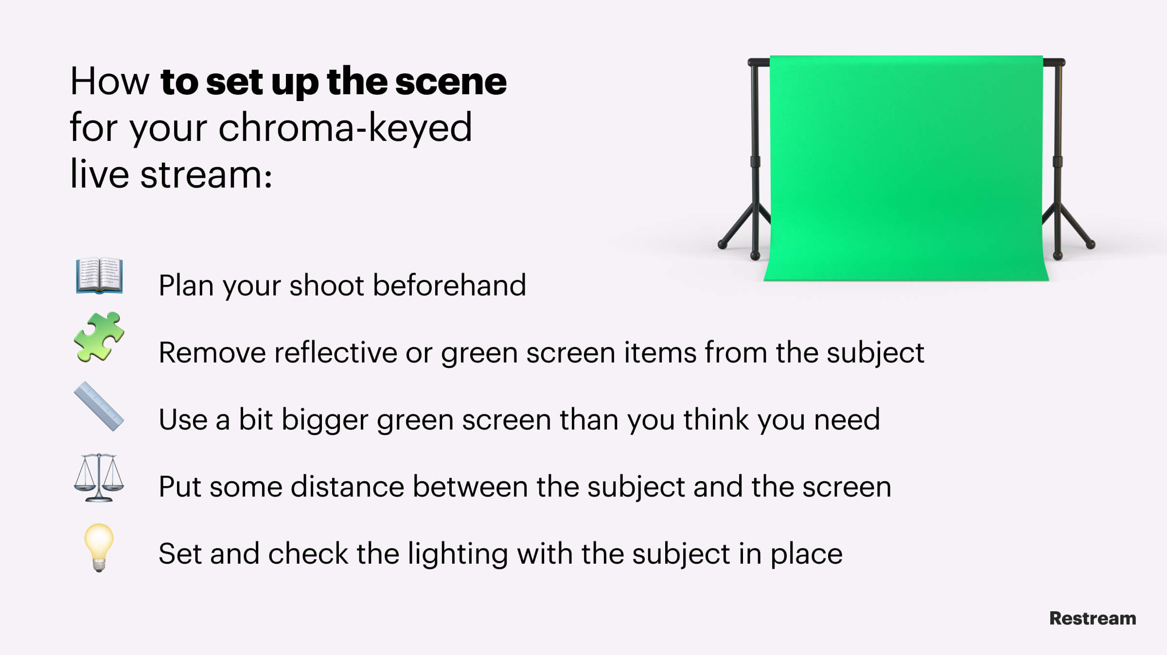 Checklist – How to set up the scene for your chroma-keyed live stream