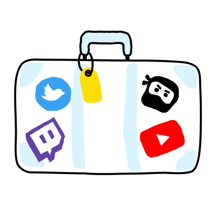 Suitecase with stickers of Twitch, YouTube, Twitter and DLive